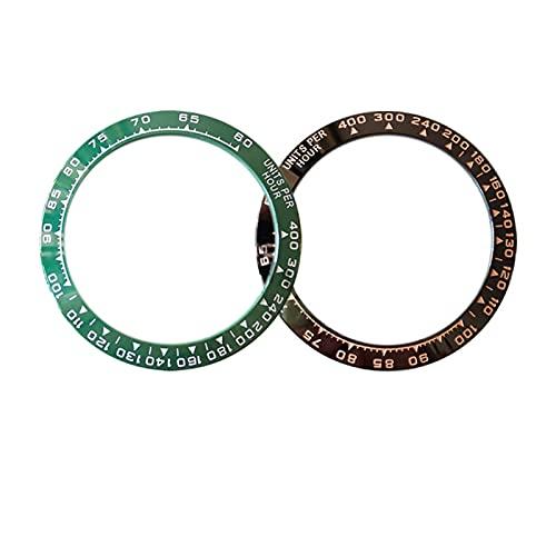 MINGYUYUYY 38. 5MM Bisel de Reloj de cerámica Apto Adecuado para el cosmograpto Daytona Hombre Reloj de Reloj Diámetro Interior 30. 5MM Ver Accesorios de reemplazo (Color : Green)