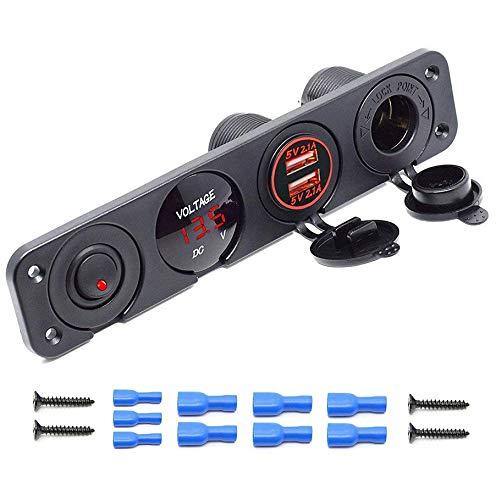 MASO Cargador de enchufe USB doble (2,1 A y 2,1 A, voltímetro LED, salida de alimentación de 12 V, interruptor de encendido y apagado