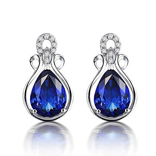 ANAZOZ Pendientes Mujer Tanzanita Blanco,Pendientes de Oro Blanco 18 Kilates Plata Azul Flor con Gota de Agua Tanzanita Azul 2.79ct Diamante 0.08ct