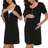 Sykooria Stillnachthemd Damen Kurzarm Stillshirt mit Knopfleiste, Umstandskleid Baumwolle Umstands Nachthemd für Schwangere und Stillzeit