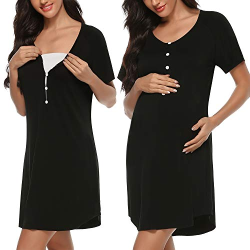Sykooria amningseftertema dam kort ärm amningsskjorta med knappludd, omdömen bomull omstånd nattlinne för gravida och amning
