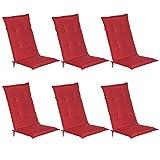 Beautissu Loft HL - Set de 6 Cojines para sillas tumbonas mecedoras de balcón o Asiento Exterior con Respaldo Alto - 120x50x6 cm - Placas compactas de gomaespuma - Rojo