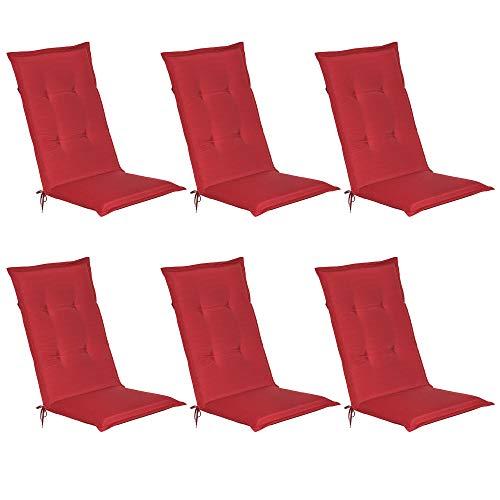 Beautissu Set de 6 Cojines sillas Jardin Loft HL - tumbonas mecedoras de balcón o Asiento Exterior con Respaldo Alto - 120x50x6 cm - Placas compactas de gomaespuma - Rojo