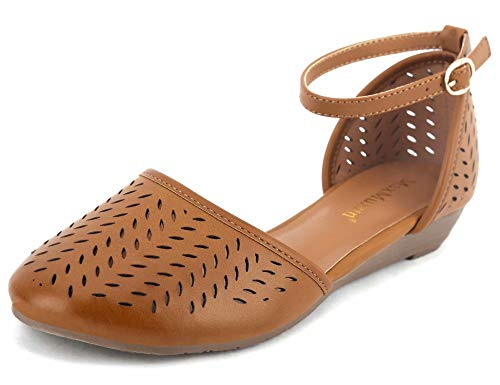 MaxMuxun Women's Ankle Strap Cage Closed Toe Flat Sandals Brown Size 9