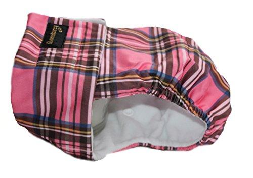Hundewindeln für Hündinnen oder inkontinente Hunde, wasserdichter Stoff - Größe S bis XL - waschbare Einlagen - pinkes Schottenkaro