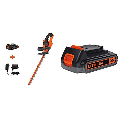 Amazing Deal BLACK+DECKER 20V MAX Cordless Hedge Trimmer with Extra Lithium Battery 2.0 Amp Hour (LH...
