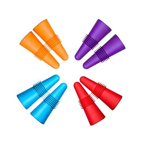 Juego de 8 Tapones de Vino, CNYMANY Reutilizables de Silicona sellador de Botellas de Bebida con Agarre Superior para Corcho para Mantener el Vino Fresco – Azul, Rojo, Morado, Naranja