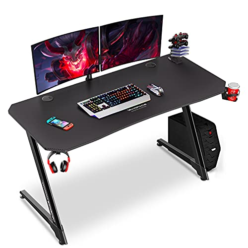 VANSPACE 55 Inch Ergonomic Gaming Desk, Z Shaped Office Desk PC Computer Desk Racing Gaming Table with Free Mouse Pad Gamer Workstation with Cup Holder, Headphone Hook and Cable Management