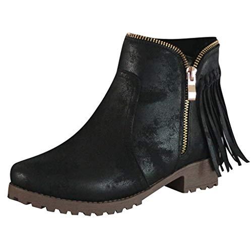 Vovotrade Klassieke laarzen voor dames, met blokhak, met kwastritssluiting, voor bikers en boots