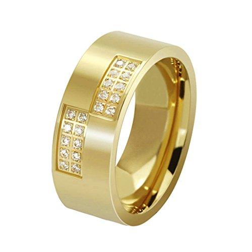 Daesar Joyería Hombre Anillo Compromiso Acero de Oro Dorado Blanco con Diamante de Imitacón para Hombres Boda, 1pc, Talla 22