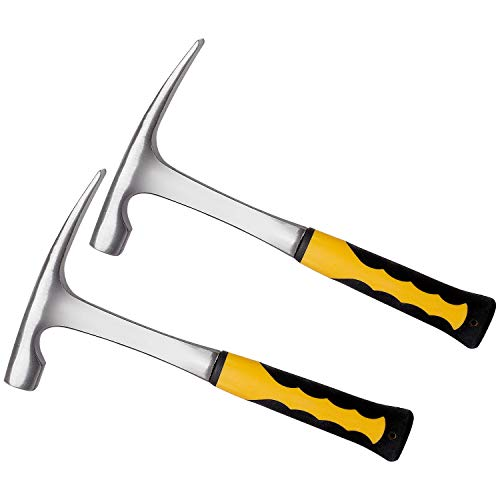 KEILEOHO 2 Pack 32 oz Brick Hammer 11.2 Inch Flat head Rock Pick Hammer, All Steel Geologist Hammer, Bricklayer's/Mason's Hammer with Shock Reduction Grip for Mining, Geological Prospecting