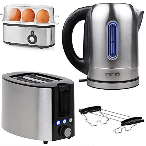 TronicXL Wasserkocher + Toaster + Eierkocher Set Edelstahl - Mit Temperatureinstellung I Warmhaltefunktion I Temperatur Auswahl I Frühstück Set Frühstücksset LED Beleuchtung mit Brötchen-Aufsatz