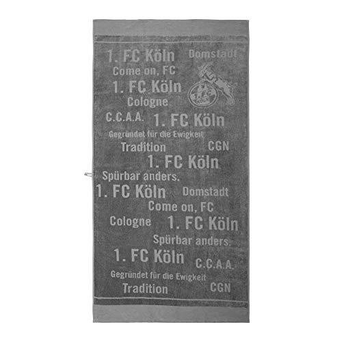 1. FC Köln Strandtuch - Tradition - anthrazit, Badetuch 90 x 180 cm, Handtuch - Plus Lesezeichen I Love Köln