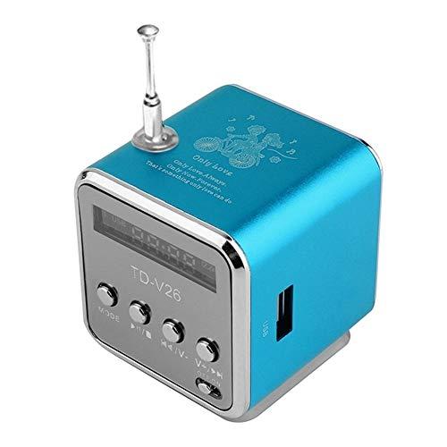 Sebasty Azul portátil mini altavoces sonido mini portátil digital LCD SD/TF FM estéreo transmisión música portátil altavoces