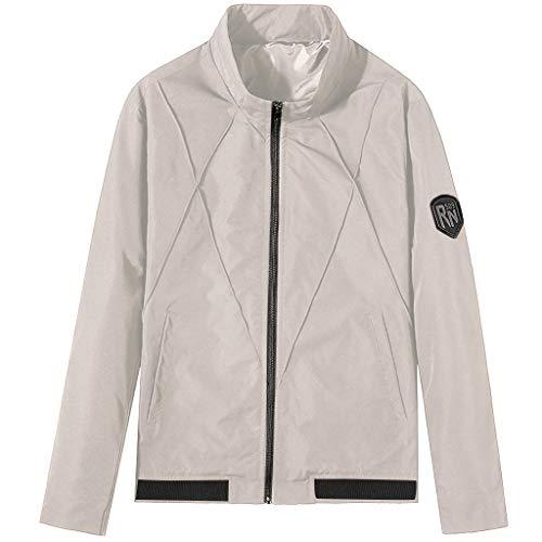 Xmiral Winter Mäntel Herren Einfarbig Stehkragen Reißverschluss Slim Fit Jacke Herbst Winter Outwear Mode Warm Halten Motorradjacke(B Grau,M)
