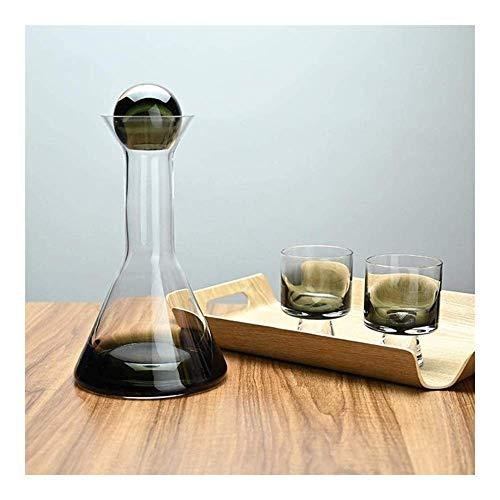 Decantador de copa de vino Decantador de whisky Decantador de cristal, decantador de vino de cristal Smokey Glass de cristal, jarra de vino tinto con 2 gafas creativas, 100% a mano, soplado sin plomo,