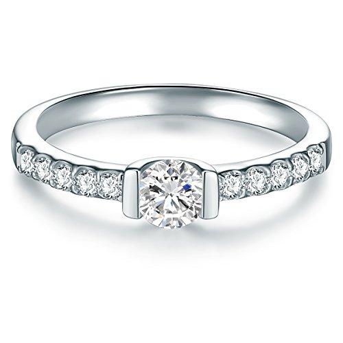 Tresor 1934 Damen Solitärring Sterling Silber Zirkonia weiß Brillantschliff - Verlobungsring Silberring Damen mit Stein Antragsring