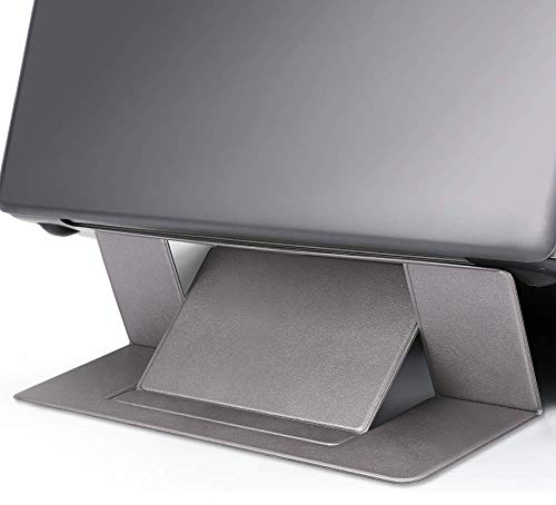 yidenguk Laptop Stand,Ultra Thin Foldable Invisible Notebook Holder, Portable Foldable Tablet Stand Anti-Slide Laptop Riser Adjustable Compatible with Mac Book Laptops iPad and Tablet (Silver Grey)