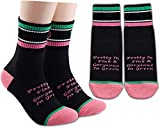 LEVLO 1908 Alpha Kappa Alpha Sorority Socks Pretty In Pink and Gorgeous In Green Cotton Socks Gift for Women Girl (2 Pairs/Set)