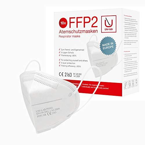 Uni-lab FFP2 Atemschutzmaske | 10 Stück einzeln verpackt | 5-lagig | ffp2 maske ce zertifiziert 2163 und geprüft | weiß | Staubschutzmaske Masken Mundschutz ffp2 – Made in Europe