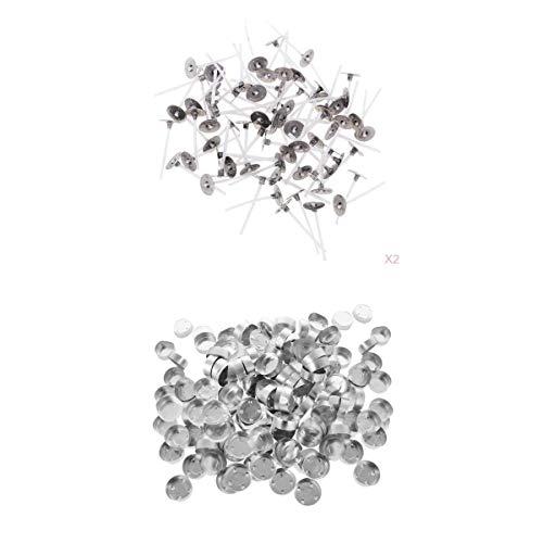 MagiDeal Contenedores de Aluminio para Caja de Luz de Té de 400 Piezas + Mecha de Vela de 3 Cm