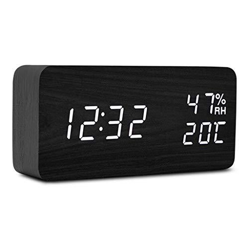 Alarm Clock for zware Sleepers Snooze Night Light Backlight Silent Voice Control 3 Alarm Instellingen Thuis Slaapkamer Nachtlampjes Houten Stil Ontwerp (Color : B, Size : 14.8cm*4cm*7cm)