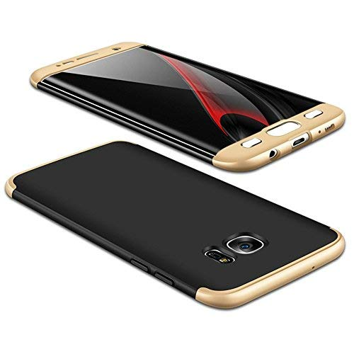 JMGoodstore Funda Galaxy S7,Carcasa Samsung S7,Funda 360 Grados Integral para Ambas Caras+Cristal Templado,[360°] 3 in 1Slim Fit Dactilares Protectora Skin Caso Carcasa Cover Oro+Negro
