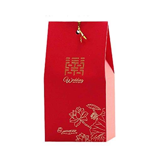 Panda Legends 40 Stücke Rote Hochzeit Pralinenschachtel Chinesischen Stil Hochzeit Süßigkeiten Papierboxen Chinesischen Stil Pralinenschachtel