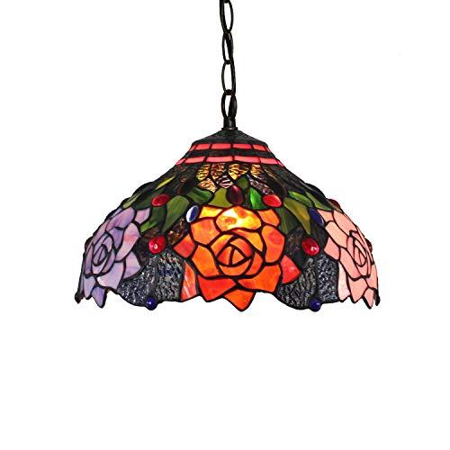 Candelabros de color - 12 'Lámpara colgante de Tiffany, rosas en luces colgantes de vidrio negro Corredor de vidrieras Corredor de ajuste para el restaurante Bedroom restaurante Café Luces creativas d