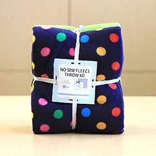 Small Rainbow Dots Navy Anti-Pill No-Sew Throw Fleece Fabric Kit (50x60)