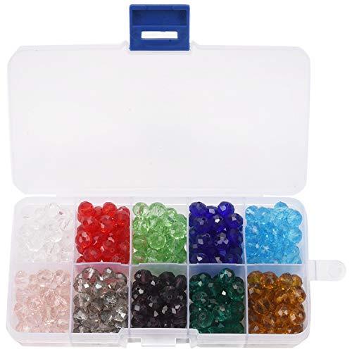 Vasko 300 Pcs Cuentas De Vidrio, 8Mm 10 Colores Perlas De Facetas Perlas De Cristal para La Fabricación De Joyas,Proyectos De Abalorios De DIY, Pulseras, Collares, Pendientes