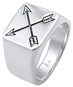 Kuzzoi Siegelring Herrenring, massiv 14 mm breit in 925 Sterling Silber, schwarz oxidierte Pfeile mit Gravur, Ring für Männer in der Ringgröße 60 – 66, 0601990719_66