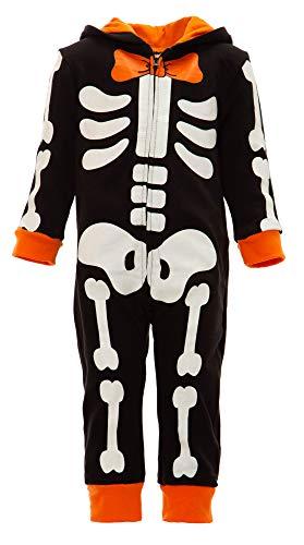 funstuff Baby Skelett Verkleidung, Kostüm, Jumpsuit für Fasching, Halloween, Winter, 24 Monate