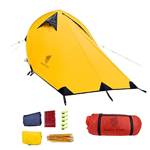 TAOBEGJ Carpa Túnel, Carpa para Camping, Carpa Domo. Tienda De Campaña Impermeable, Ultraligera para 2 Personas, También Ideal para Acampar En El Jardín, Configuración Rápida Y Ligera,Yellow