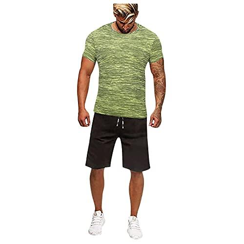 2021 Mens Casual Pullover Chándal 2 piezas Conjunto Sport Jogging, Gym Quick Dry Big y Tall Shorts y camisa Set