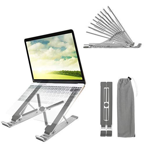 Colocasia - Supporto per computer portatile con 10 angoli di altezza, regolabile, pieghevole, leggero, in lega di alluminio, supporto ventilato, per MacBook, iPad, Huawei, Lenovo, HP, Dell, 11'-17'