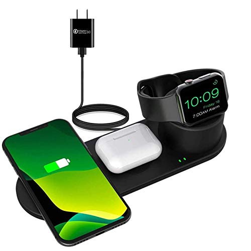 Aresh 3 in 1 Wireless Charging Station Compatible with Apple Products iPhone 12/12 mini/11/Pro Max X XS XR 8 Multiple Devices Watch SE 6 5 4 3 2 Airpod 2/Airpods Pro Charger Stand Pad Docking Stations