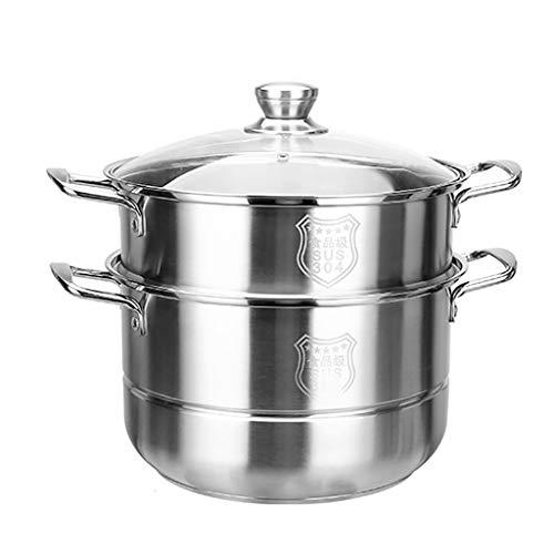 2-capa Olla Vapor/Sopa, Hogar 304 De Vapor De Acero Inoxidable, 28/30 / 32cm, For 3-7 Personas, Adecuado For La Estufa De Gas/Cocina De Inducción Ollas (Size : 30cm)