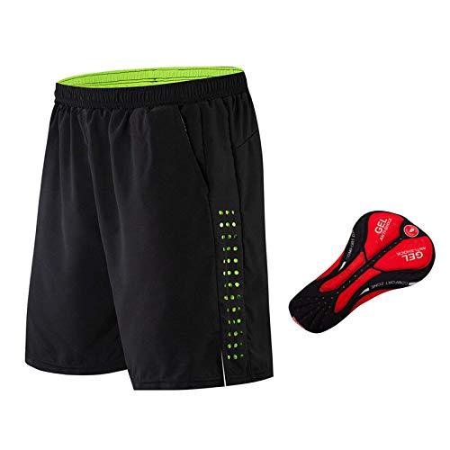 Belleashy Pantalones De Ciclismo Pantalones Cortos Acolchados De Gel para Hombre para Ciclismo Al Aire Libre Correr Entrenamiento En Bicicleta (Size:L; Color:Black)