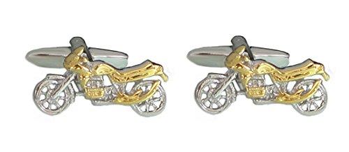 Manschettenknöpfe Motorrad Bicolor glänzend - fein gearbeitet! Made in Germany + schwarzer Exklusivbox