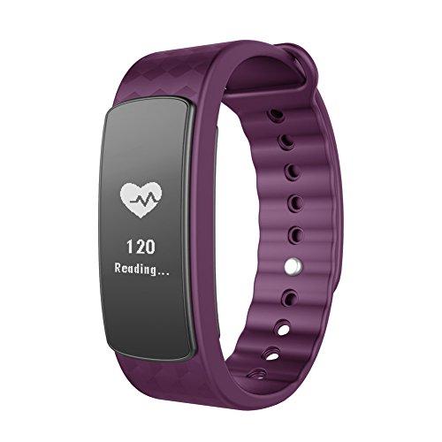 Lintelek Pulsera Inteligente, Fitness Tracker con Monitor del Ritmo cardíaco, Podómetro,Monitor de sueño, Bluetooth 4.0,para iPhone iOS Android
