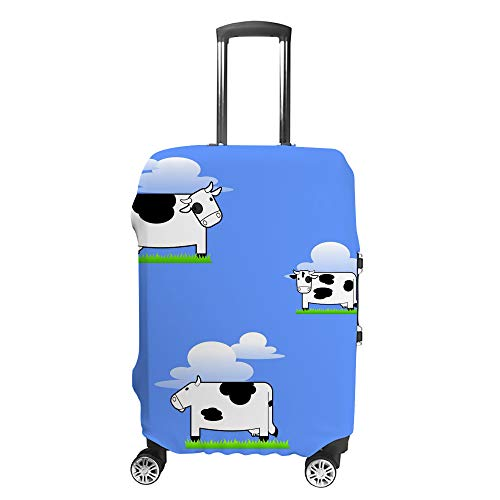CHEHONG Suitcase Cover Luggage Cover Cow Sky Blue Travel Trolley Case Protective Washable Polyester Fiber Elastic Dustproof Fits 29-32 Inch
