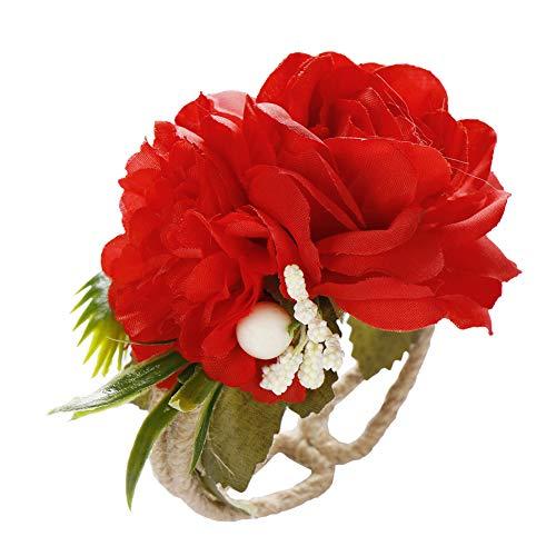 XPT Pulsera ajustable de muñeca ramillete de boda para dama de honor, novia, flor abierta mano muñeca ramillete regalo para niñas 2 #