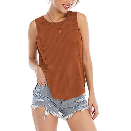 FMYONF Camiseta de punto para mujer, de un solo color, sin mangas, sexy, de verano, escote redondo caqui S