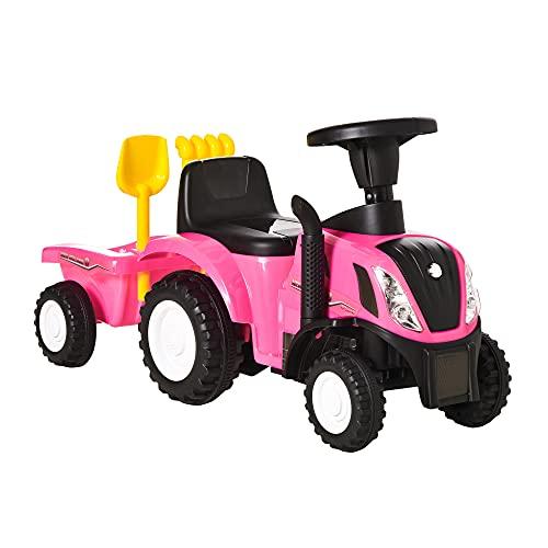HOMCOM Tractor para Niños de 12-36 Meses con Remolque Extraíble Coche Correpasillos con Bocina Faros Pala y Rastrillo Carga 25 kg 91x29x44 cm Rosa