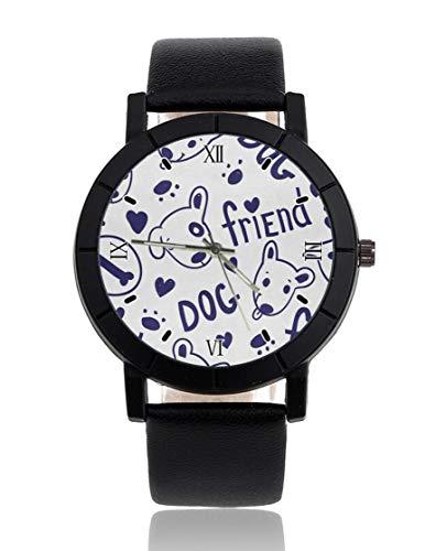 Bull Terrier perro amigo personalizado reloj personalizado casual correa de cuero negro reloj de...
