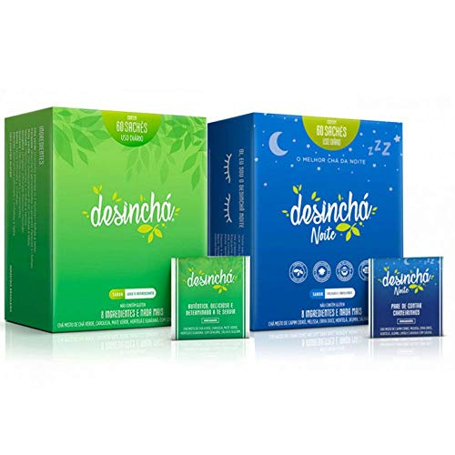 Kit Desinchá 60 Sachês + Desinchá Noite 60 Sachês + Copo