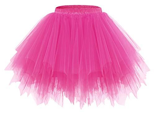 bridesmay Tutu Damenrock Tüllrock 50er Kurz Ballet Tanzkleid Unterkleid Cosplay Crinoline Petticoat für Rockabilly Kleid Fuchsia L