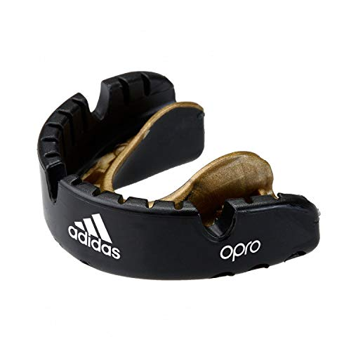 adidas Unisex– Erwachsene OPRO Gen4 Edition Braces Mundschutz, schwarz/Gold, Senior