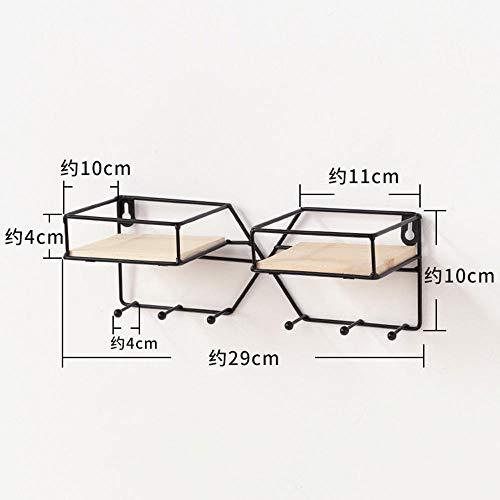 Simple moderno estante sin perforaciones de hierro forjado sala de estar cocina montada en la pared estante de almacenamiento multifunción-Rectangular negro-sin uñas